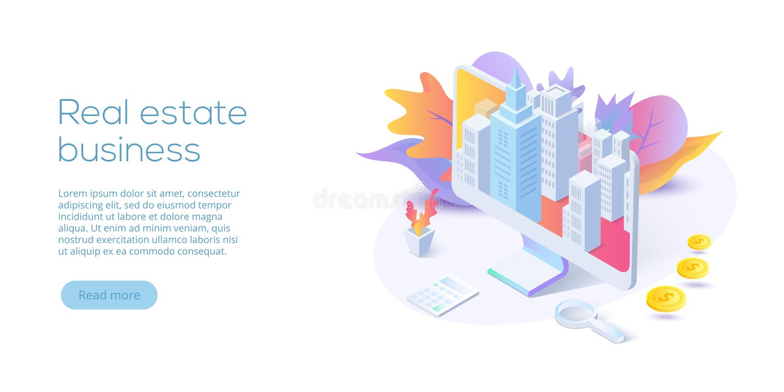Real estate business isometric vector illustration. House search. Ing app concept. Online buying, renting, selling property website layout stock illustration