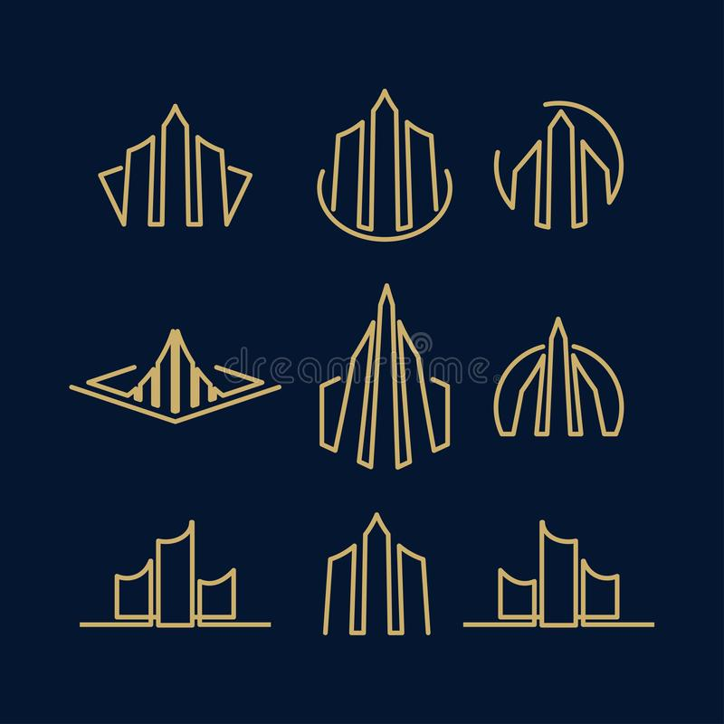 Real Estate Business Logo Template, Building, Property Development, and Construction Logo Vector Design Eps 10 with luxury gold vector illustration