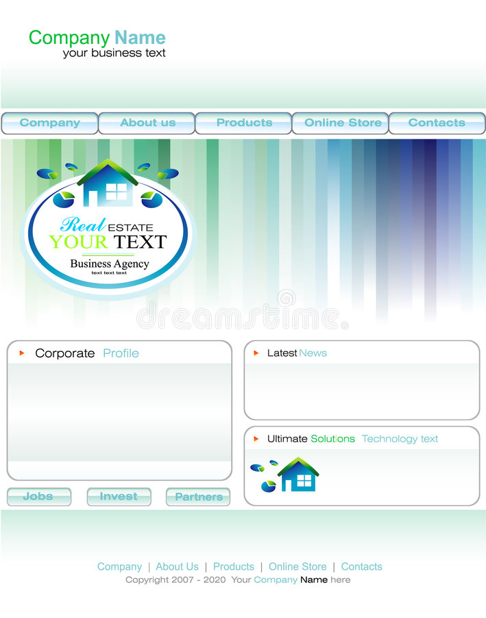 Download Real Estate Business Web Site Template Stock Vector - Image: 8885651