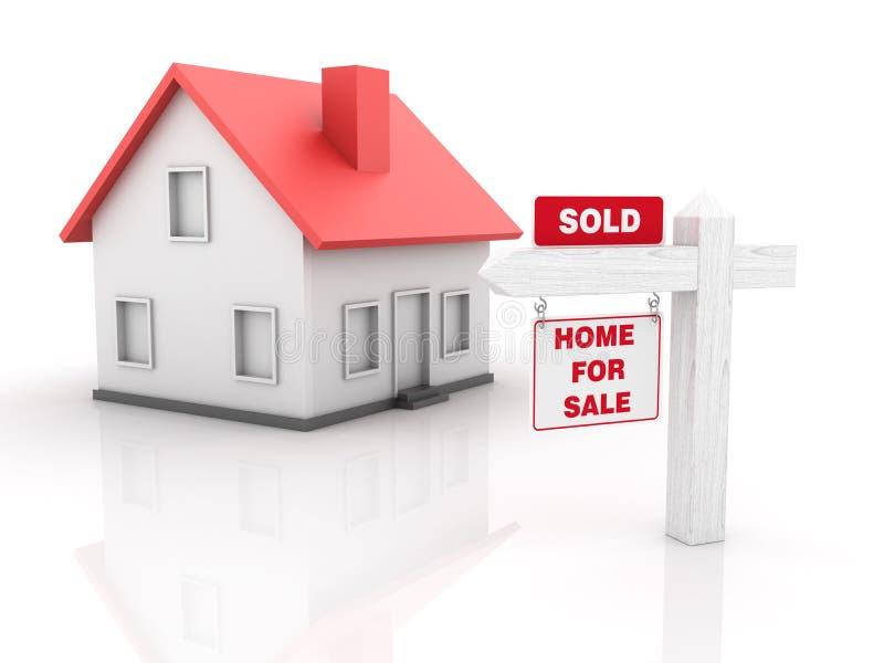 Real Estate - casa para la venta - vendido ilustración del vector