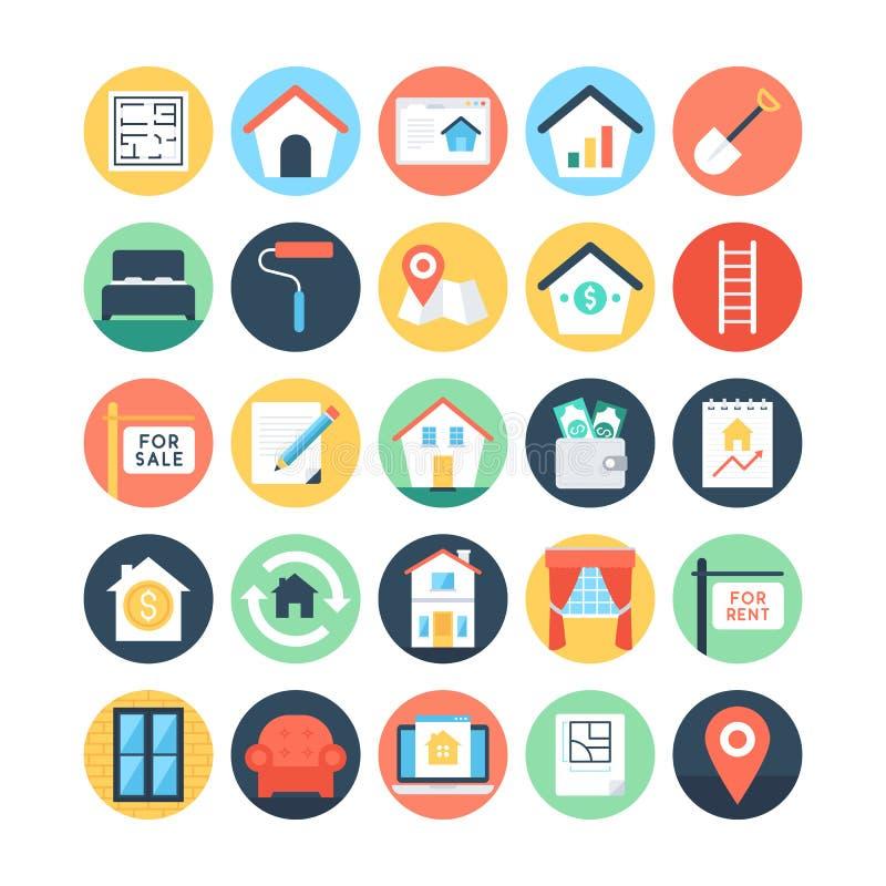 Real Estate a coloré les icônes 2 de vecteur illustration de vecteur