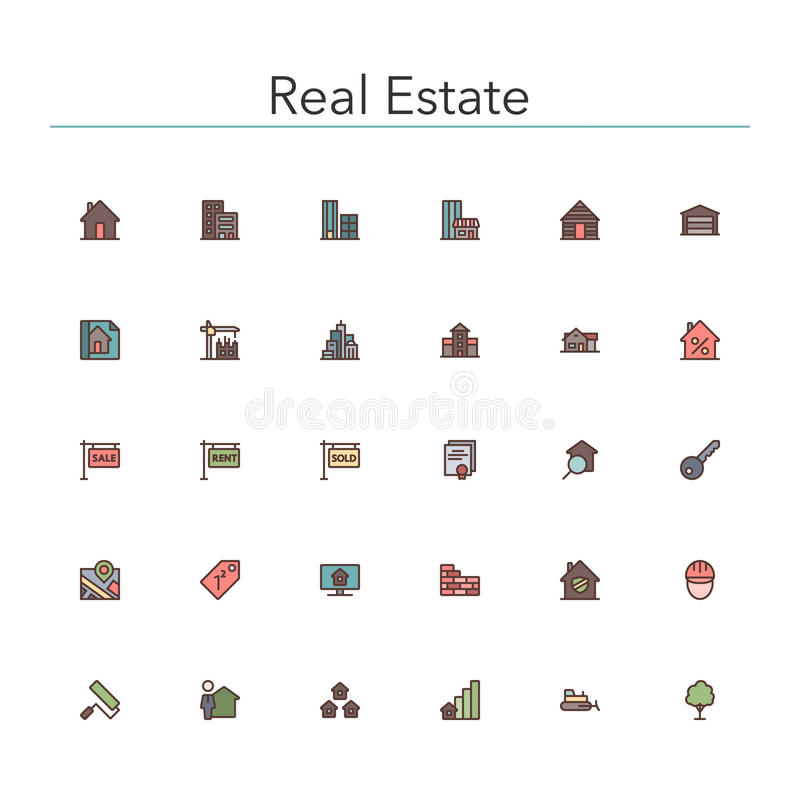 Real Estate Colored Line Icons vector illustration