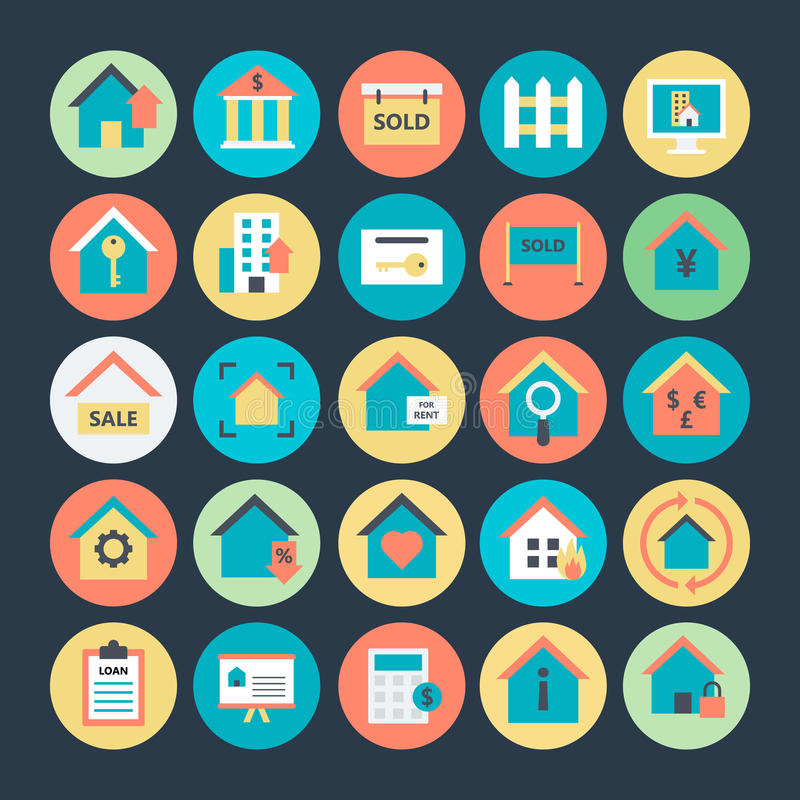 Real Estate Colored Vector Icons 1 stock illustration