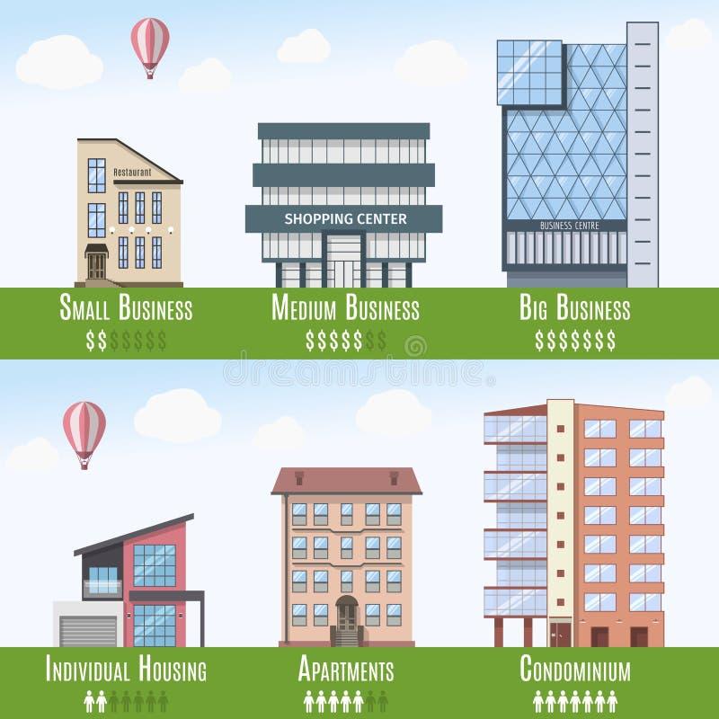 Real Estate comercial e residencial Infographics, grupo de 6 construções Ilustração do vetor ilustração stock