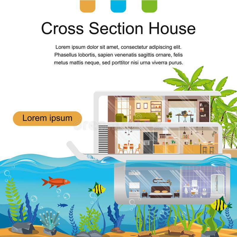 Real Estate Company Flat Vector Landing Page stock illustration