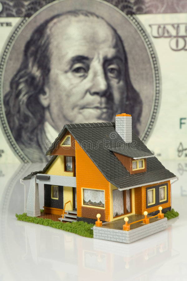 Real estate concept on big dollar background royalty free for Big white real estate foreclosure