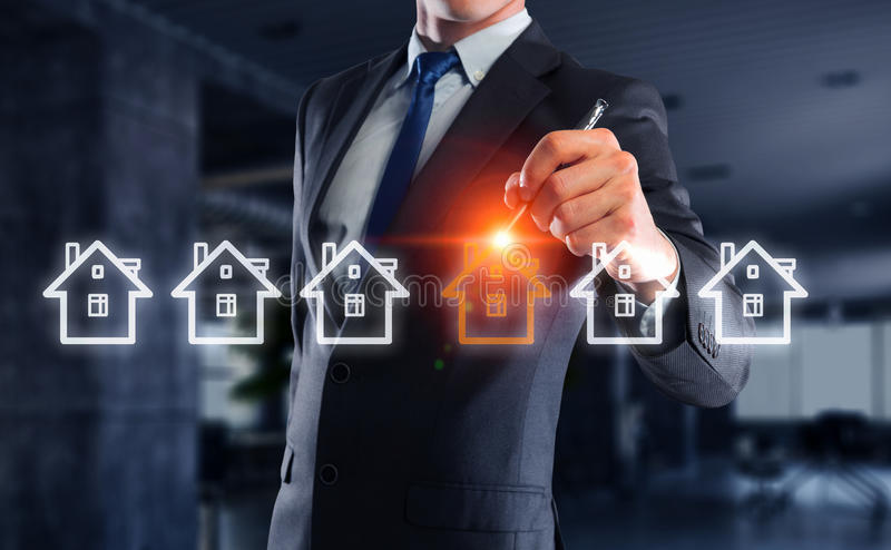 Real estate concept. Business engineer drawing real construction project on screen royalty free stock image