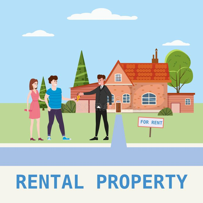 Real estate concept. House rent service. Modern family characters rent new house or big appartment sales manager hands. Real estate concept. House rent service stock illustration