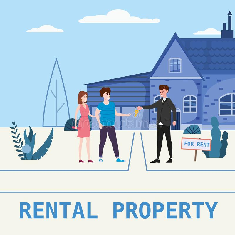 Real estate concept. House rent service. Modern family characters rent new house or big appartment sales manager hands. Real estate concept. House rent service vector illustration