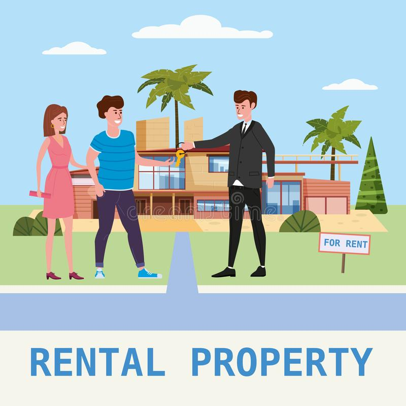 Real estate concept. House rent service. Modern family characters rent new luxury villa or big appartment sales manager. Real estate concept. House rent service royalty free illustration