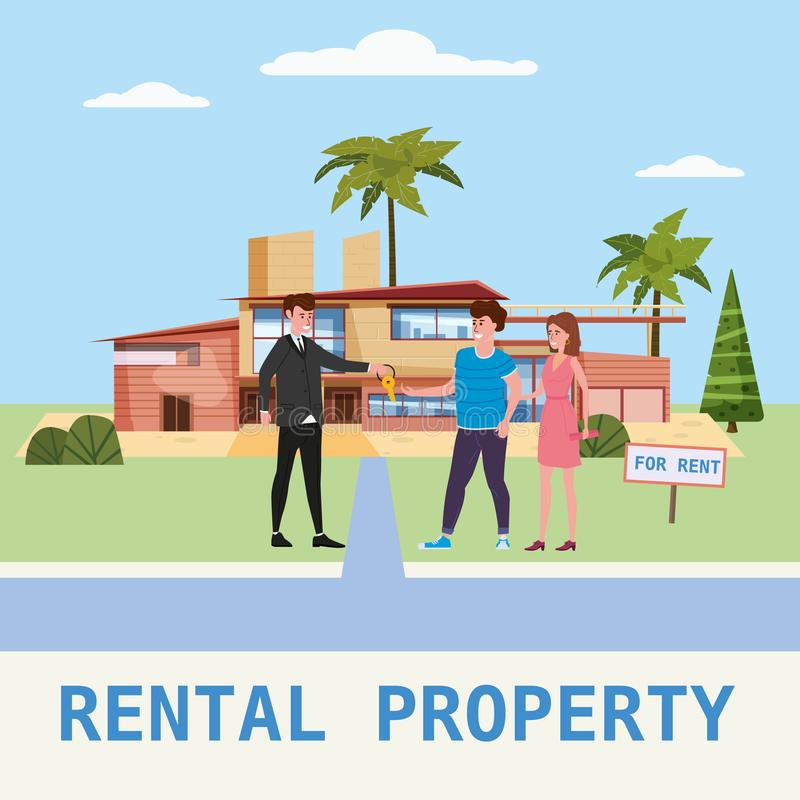 Real estate concept. House rent service. Modern family characters rent new luxury villa or big appartment sales manager. Real estate concept. House rent service vector illustration