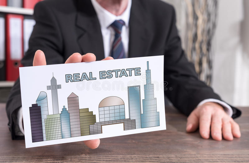 Real estate concept on an index card royalty free stock photography