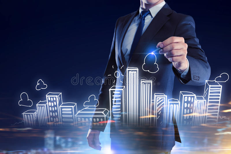 Real estate concept . Mixed media. Business engineer drawing real construction project on screen stock photos