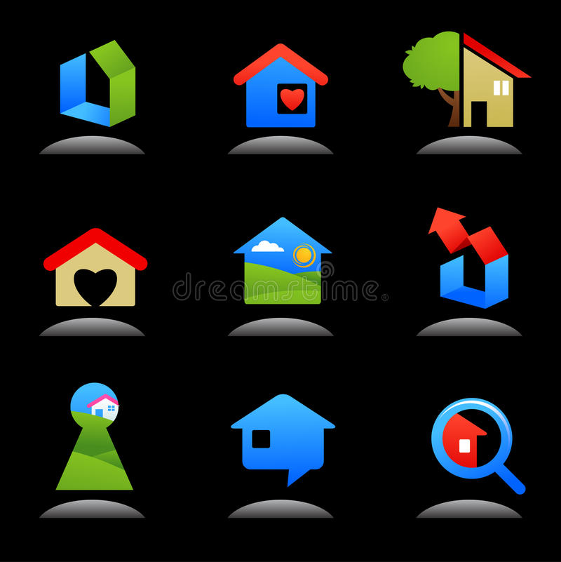 Real Estate And Construction Icons / Logos - 7 Stock Photography