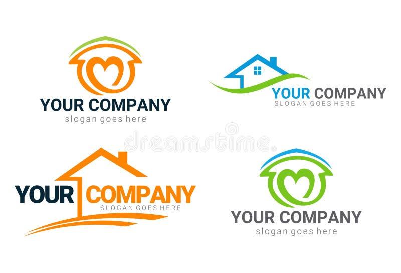 Real Estate contiene el logotipo y los iconos fijados ilustración del vector