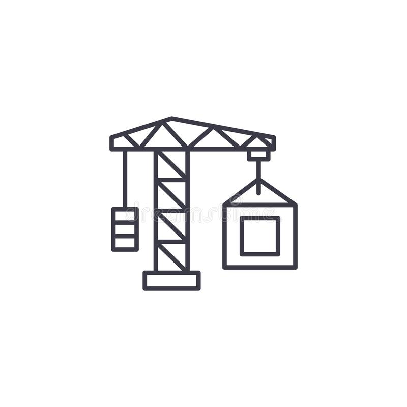 Real estate crane construction linear icon concept. Real estate crane construction line vector sign, symbol. Real estate crane construction line icon, vector royalty free illustration