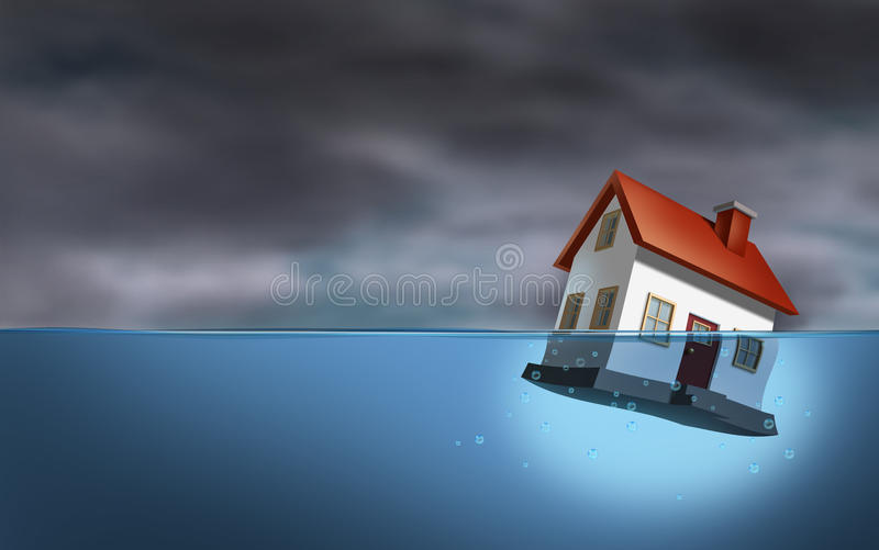 Real Estate Crisis. And housing trouble with a sinking home in the water as a dangerous dark stormy cloud background as home builder concept of the challenges vector illustration