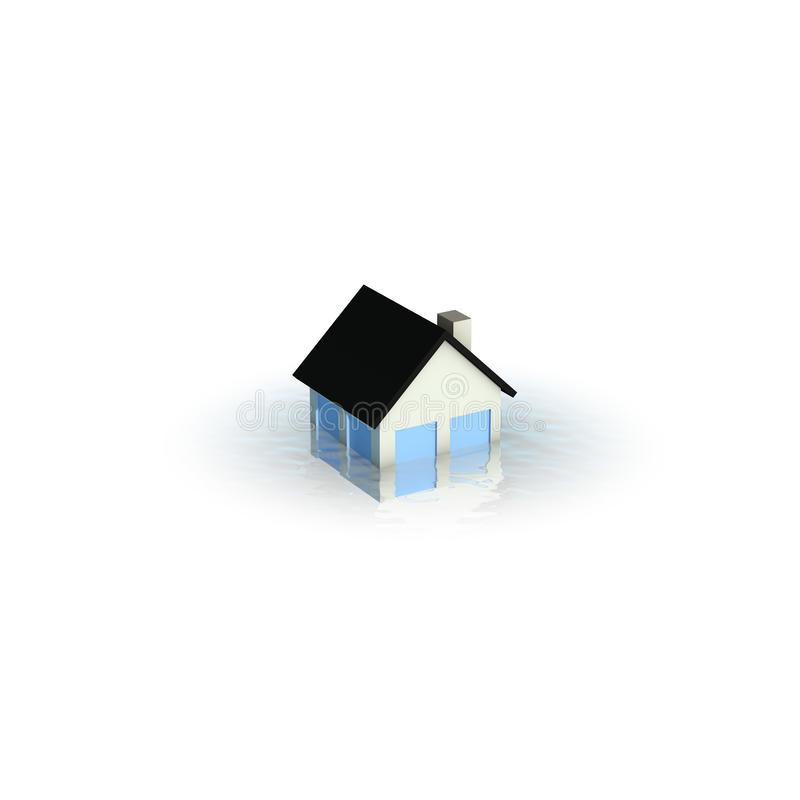 Real estate crisis concept - house under water. Illustration of an house under water - conceptual illustration of real estate crisis royalty free illustration