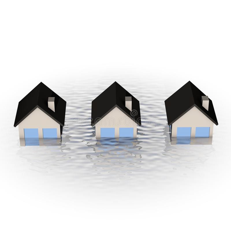Real estate crisis concept - house under water vector illustration