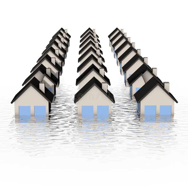 Real estate crisis concept - house under water. Illustration of an house under water - conceptual illustration of real estate crisis stock illustration