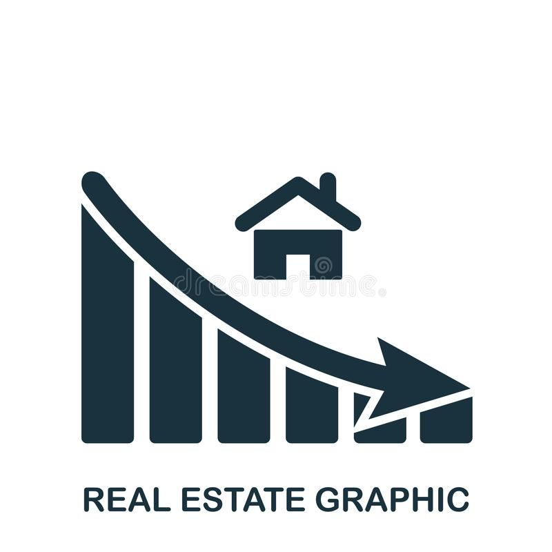 Real Estate-Dalings Grafisch pictogram Mobiele app, druk, websitepictogram Het eenvoudige element zingt Zwart-wit Real Estate vector illustratie