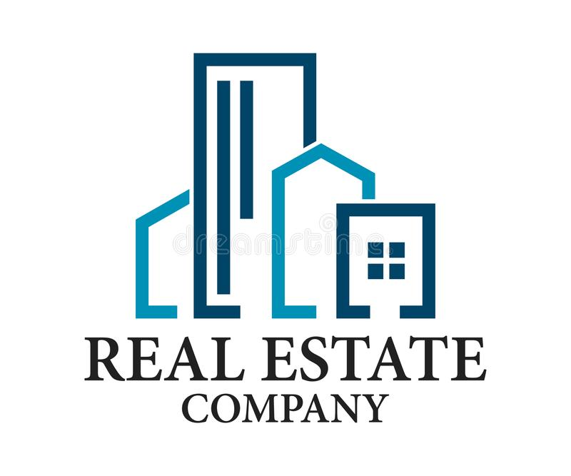 Real Estate, de Bouw, Bouw en Architectuur Logo Vector Design stock illustratie