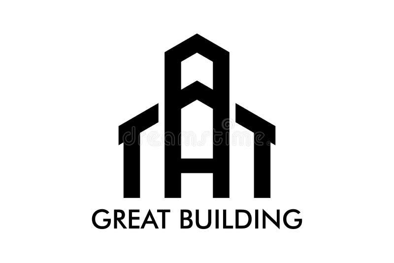 Real Estate, de Bouw, Huis, Bouw en Architectuur Logo Vector Design royalty-vrije illustratie