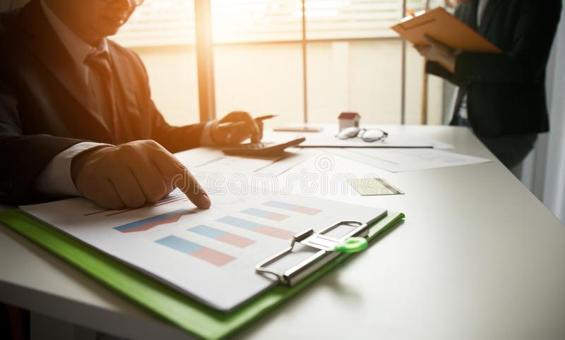 Real estate deal and long term investment portfolio stock images