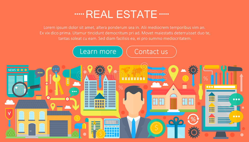 Real estate design concept set with online search apartment rental market buying flat icon infographics template design royalty free illustration
