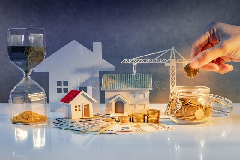Real estate development, Construction business investment. Real estate or property development. Construction business investment. Home mortgage loan rate. Hand royalty free stock photography