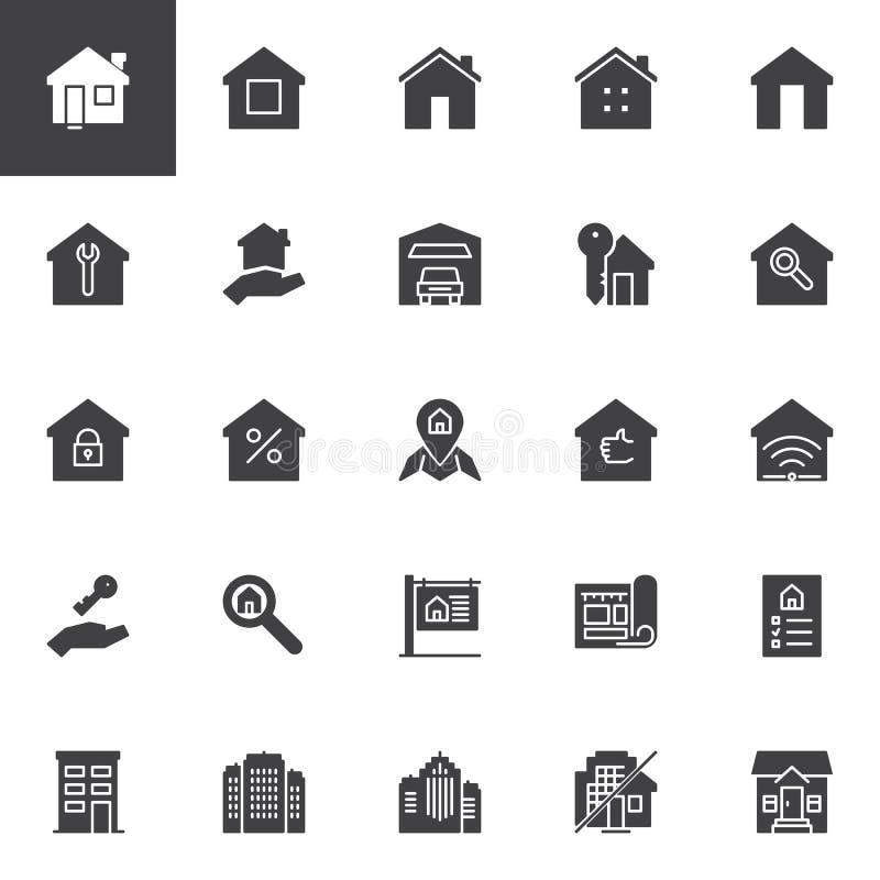 Real Estate dirigent des icônes réglées illustration de vecteur
