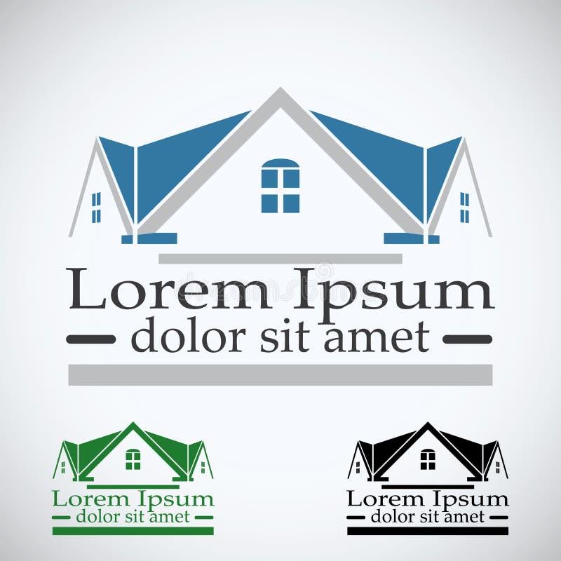 Real Estate dirigent l'ensemble de couleur de calibre de conception de logo icône abstraite de concept de dessus de toit Symbole  illustration stock