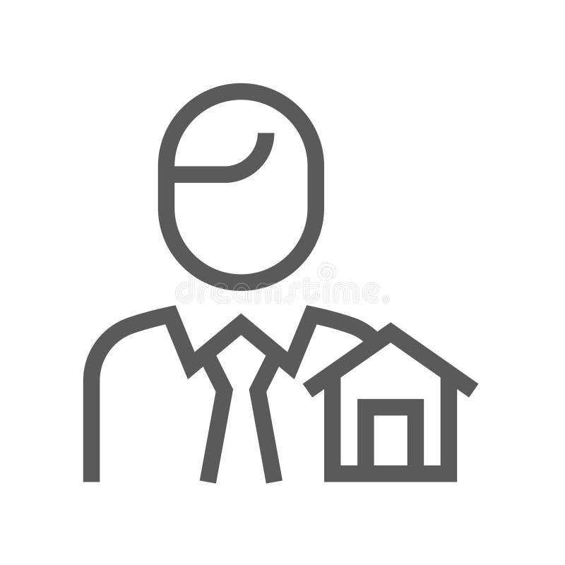 Real Estate dirigent la ligne icône Course Editable pixel 48x48 parfait illustration de vecteur
