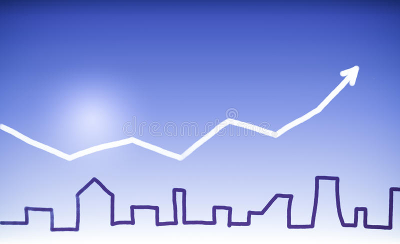 Real Estate. Drawing of an urban silhouette, showing rising prices and costs for flats, houses, plots, real estates. Done by hand sing blue, white and dark blue stock illustration