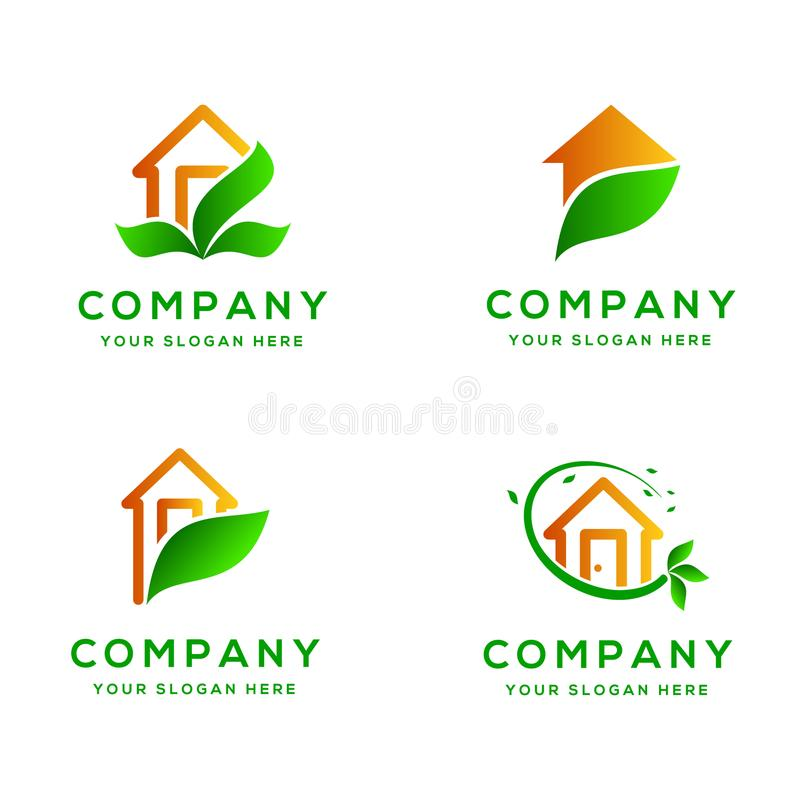 Real Estate Eco Logo Collection amigável imagem de stock royalty free