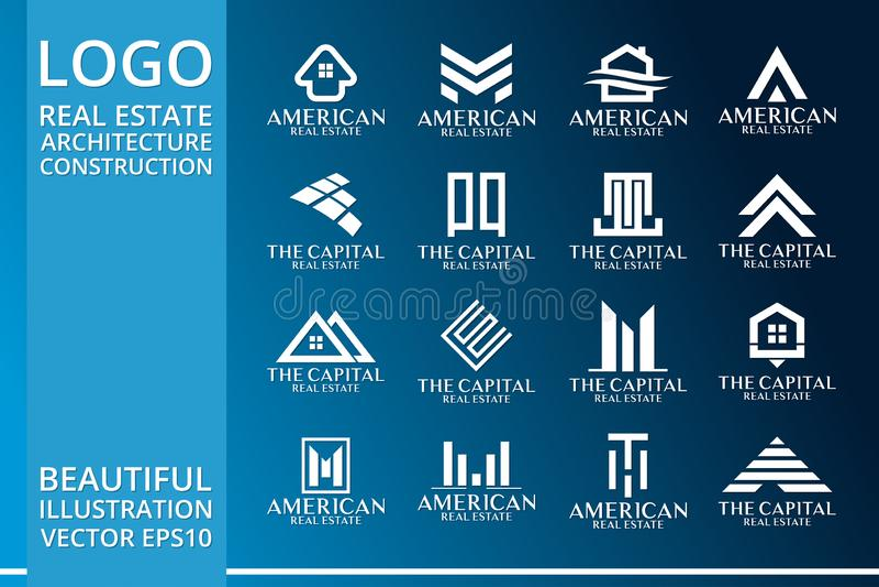 Real Estate, edificio, Camera, costruzione ed architettura Logo Vector Design illustrazione di stock