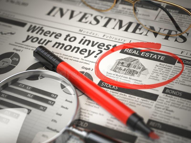 Real Estate is een beste optie investeren waar te om concept te investeren, royalty-vrije illustratie