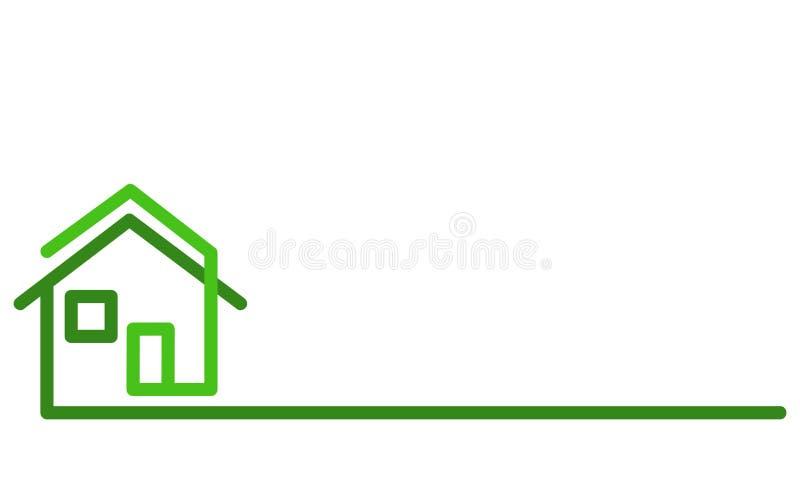 Real Estate-Embleem, groen huis op wit, voorraad vectorillustratio royalty-vrije illustratie