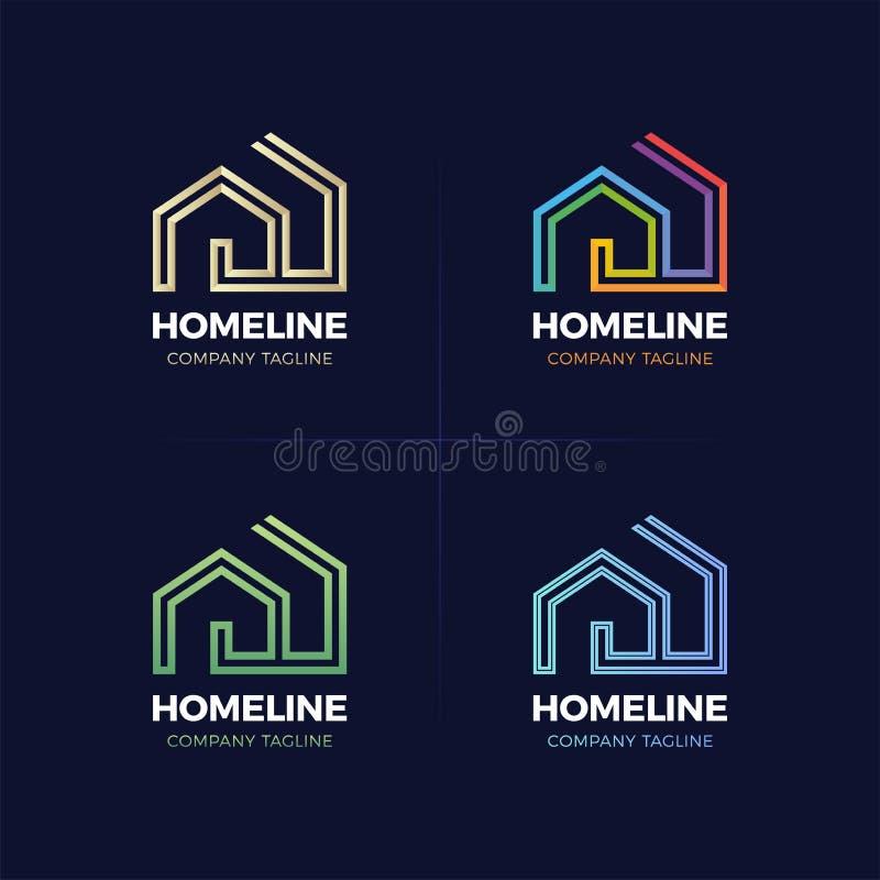 Real Estate-Embleemhuis of huislijn logotype vector illustratie