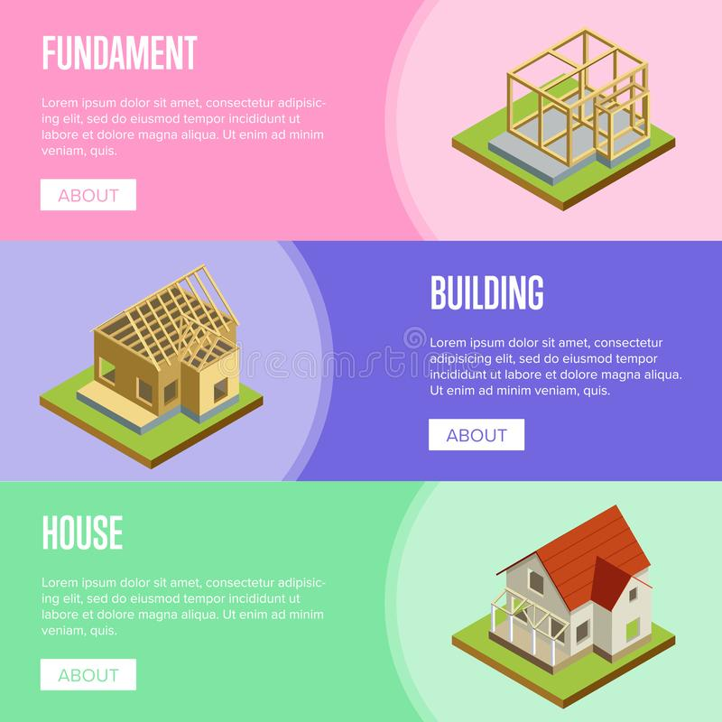 Real estate engineering isometric 3d concept. Foundation pouring, construction of walls, build siding, roof installation isometric vector illustration. House stock illustration