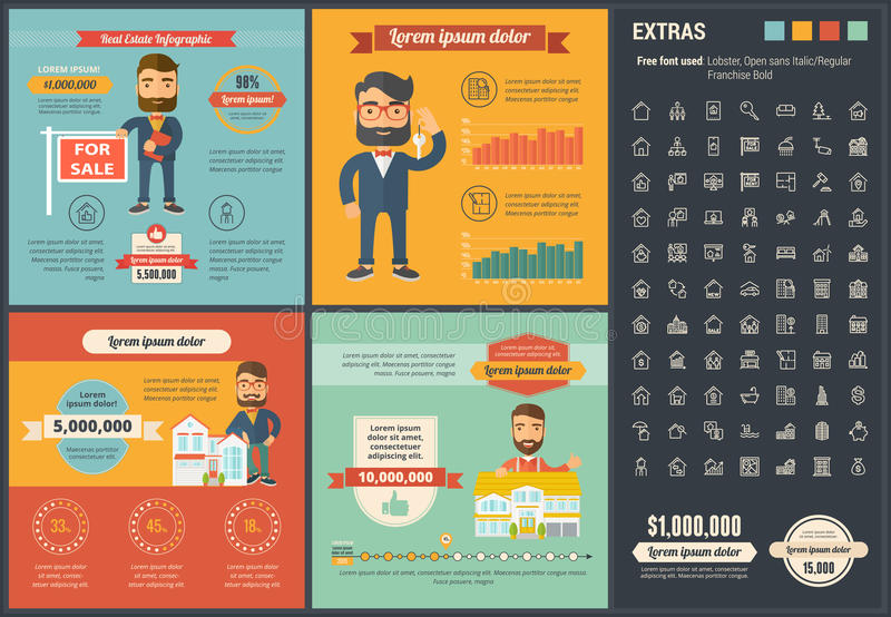 Real Estate flat design Infographic Template. Real Estate infographic template and elements. The template includes illustrations of hipster men and huge awesome