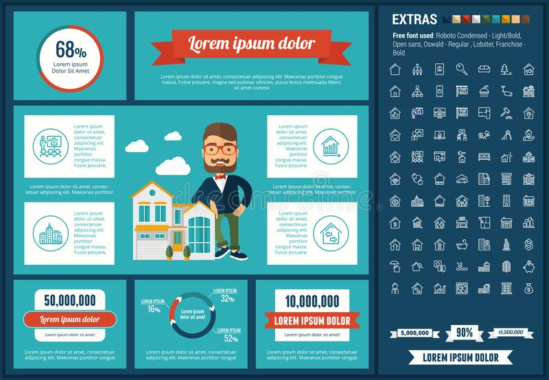 Real Estate flat design Infographic Template. Real Estate infographic template and elements. The template includes illustrations of hipster men and huge awesome vector illustration