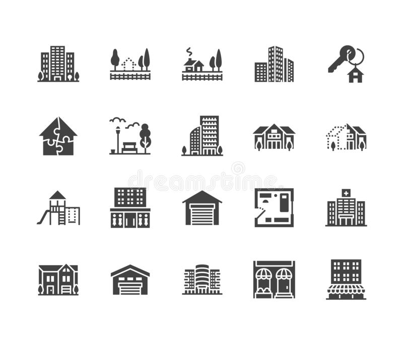 Real estate flat glyph icons set. House sale, commercial building, country home area, skyscraper, mall, kindergarten. Vector illustrations. Infrastructure signs royalty free illustration