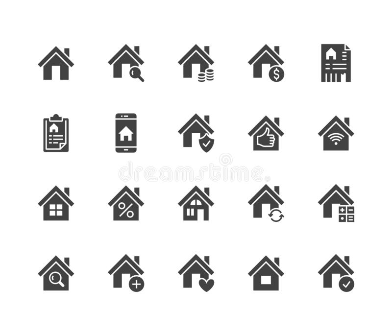 Real estate flat glyph icons set. House sale, home insurance, mortgage calculator, apartment search app, building. Renovation vector illustrations. Homepage stock illustration