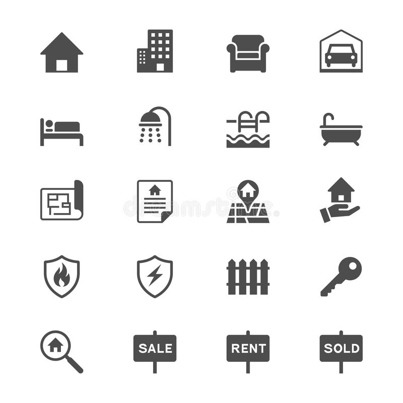 Free Real Estate Flat Icons Royalty Free Stock Photos - 49209718