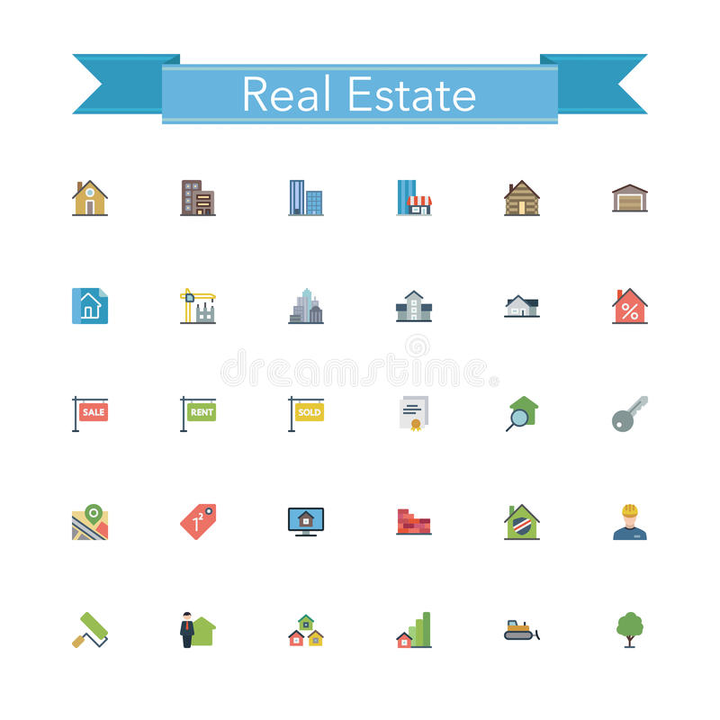 Download Real Estate Flat Icons stock vector. Illustration of color - 60752928