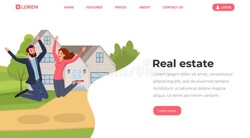 Real estate flat landing page template. Young people, husband and wife moving to house website, webpage vector layout royalty free illustration