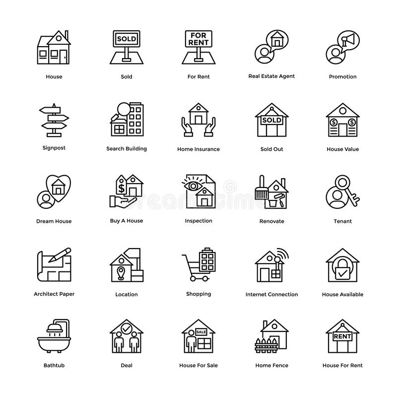 Real Estate fodrar vektorsymbolsuppsättning 6 vektor illustrationer