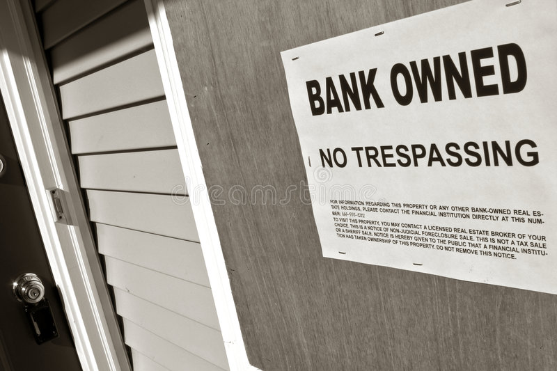 Download Real Estate Foreclosure Bank Owned Sign On House Stock Photo - Image: 7051716