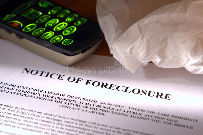 Real Estate Foreclosure Notice with Facial Tissue stock photography